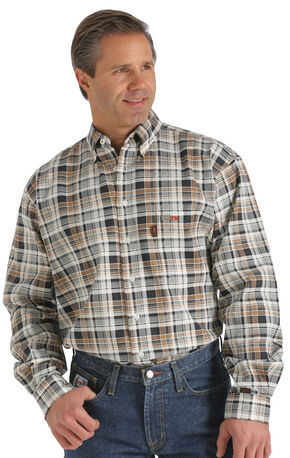 Cinch WRX Flame-Resistant Brown Plaid Shirt, Brown, hi-res