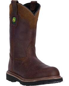 "John Deere Men's Brown 11"" Pull-On Work Boots - Steel Toe, Brown, hi-res"