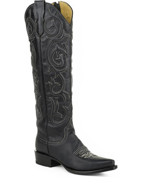 Stetson Women's Blair Black Corded Side Zip Western Boots - Snip Toe, Black, hi-res