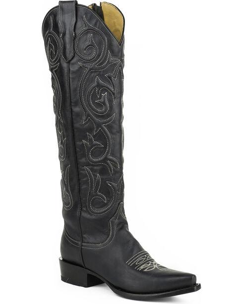 Stetson Women's Blair Black Corded Side Zip Western Boots - Snip Toe, Black, hi-res