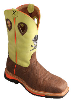 Twisted Neon Yellow Skull Lite Cowboy Work Boots - Steel Toe , Crazyhorse, hi-res