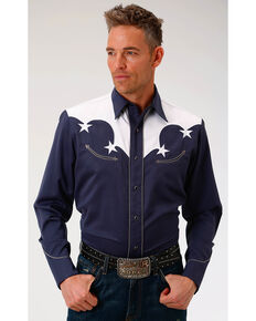 Roper Men's Solid Navy White Yoke & Stars Long Sleeve Snap Shirt, Blue, hi-res