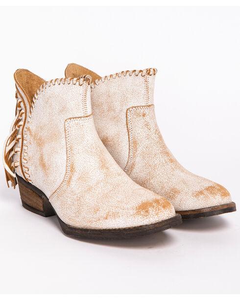 Circle G Fringe Short Boots - Round Toe, White, hi-res