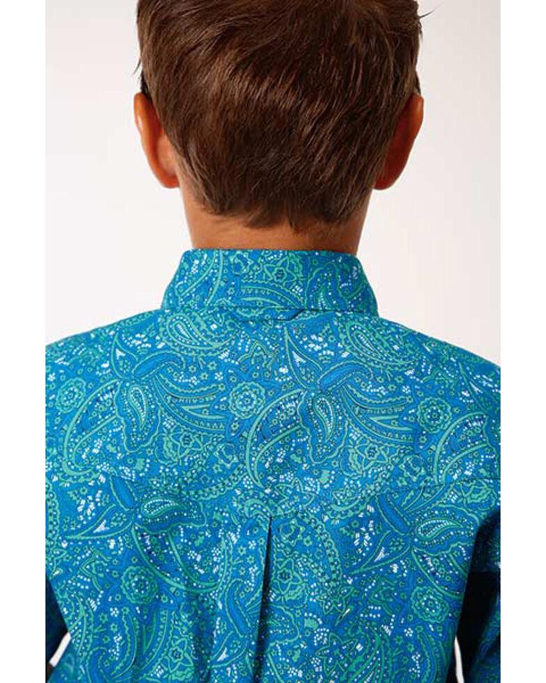 Amarillo Boys' Blue Ridge Paisley Print Short Sleeve Western Shirt, Blue, hi-res