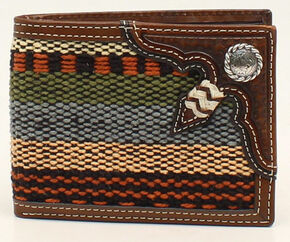 Nocona Fabric and Rawhide Knot Bi-Fold Wallet, Multi, hi-res
