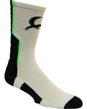 Cinch Men's White Mesh Crew Socks , White, hi-res