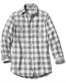 Rasco Men's 3X-5X Flame Resistant White Buffalo Plaid Long Sleeve Work Shirt - Tall , White, hi-res