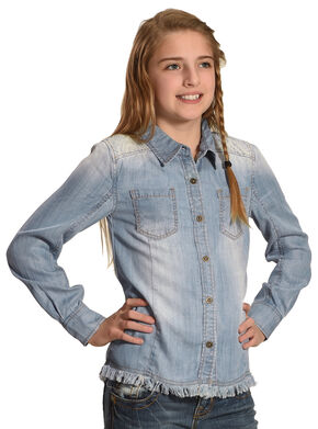 Miss Me Girls' Indigo Embroidered Denim Top , Indigo, hi-res