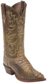Tony Lama Tan Vintage Hornback Caiman Exotic Cowboy Boots - Pointed Toe , Tan, hi-res