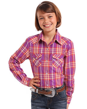 Panhandle Girls' Multi-Color Ombre Plaid Long Sleeve Western Shirt , Purple, hi-res