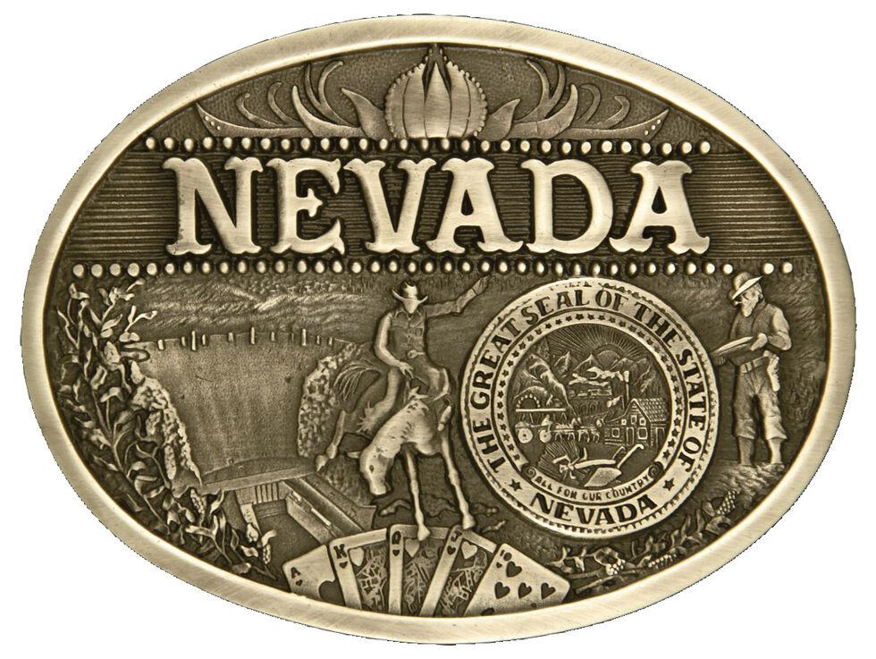 Montana Silversmiths Nevada State Heritage Attitude Belt Buckle, Gold, hi-res