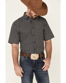 Ariat Men's French Stretch Geo Print Short Sleeve Button-Down Western Shirt - Big, Black, hi-res