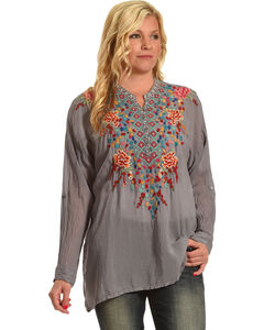 Johnny Was Women's Red Gemstone Blouse , Grey, hi-res