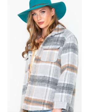 Miss Me Women's Plaid Flannel Shacket , Grey, hi-res