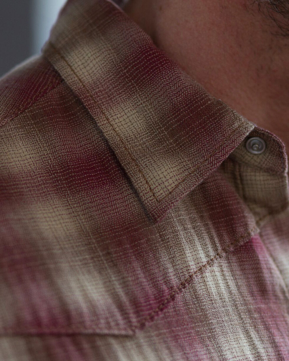 Ryan Michael Men's Garnet Heather Ombre Plaid Shirt, Red, hi-res