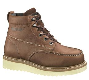"Wolverine Moc Toe 6"" Work Boots - Steel Toe, Honey, hi-res"