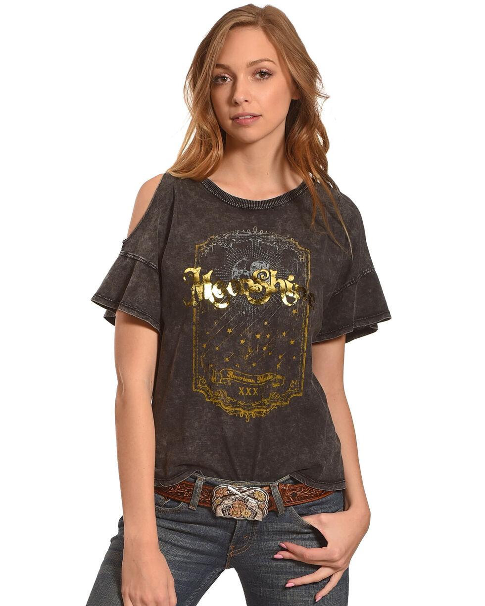 Z Supply Women's Moonshine Gold Foil Cold Shoulder Top, Black, hi-res