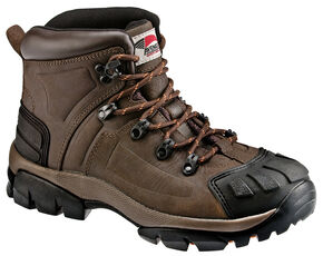 Avenger Men's Brown Crazy Horse Leather Work Boots - Steel Toe, Brown, hi-res