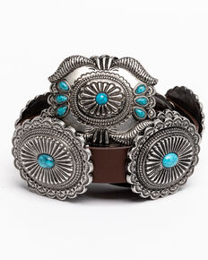 Shyanne Women's Quite The Stand Out Concho Belt, Brown, hi-res