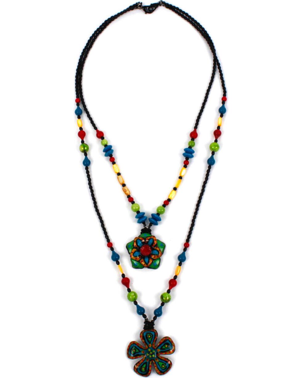 Treska Women's Two Row Flower Pendant Necklace, Black, hi-res