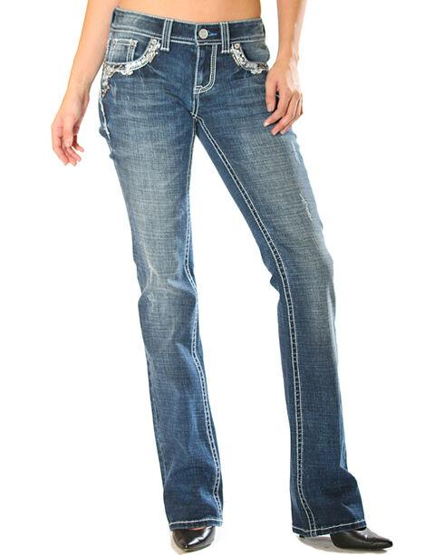 Grace in LA Women's Easy Fit Blowout Trimmed Pocket Jeans - Boot Cut, Blue, hi-res