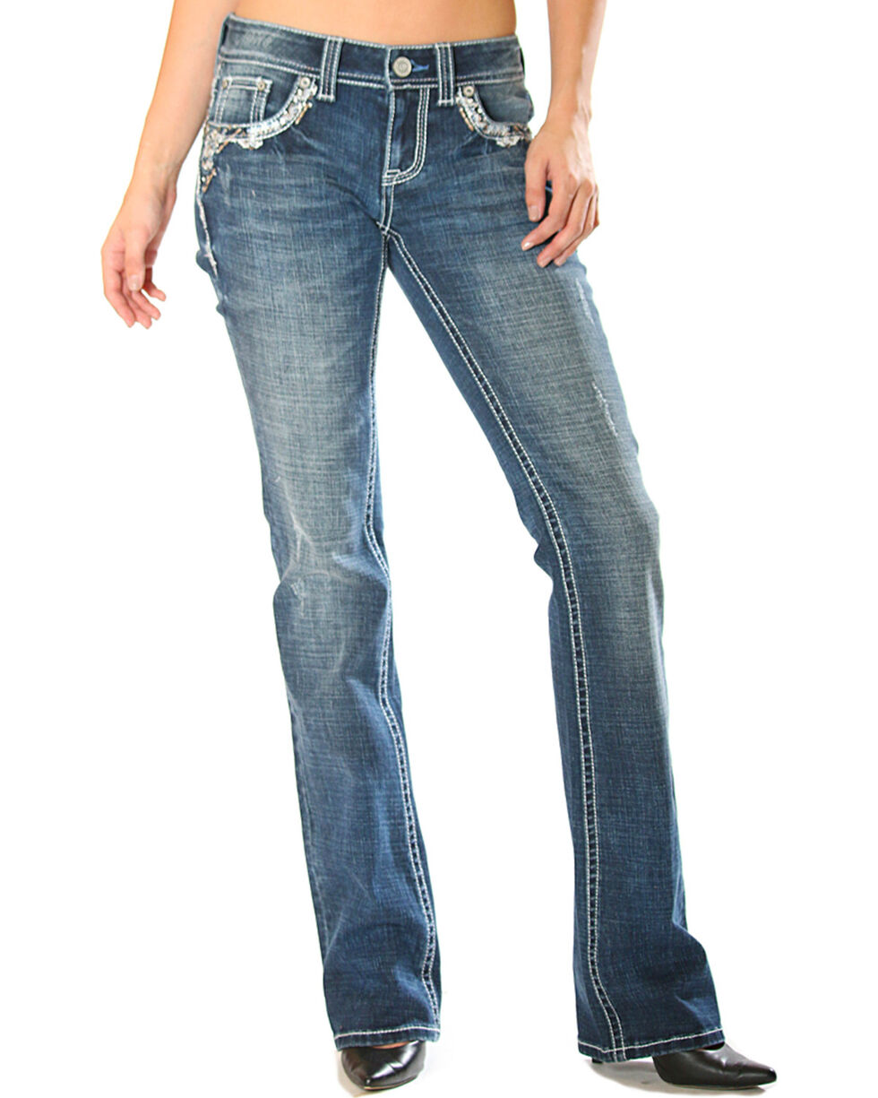 Grace in LA Women's Easy Fit Blowout Trimmed Pocket Jeans - Boot Cut, , hi-res