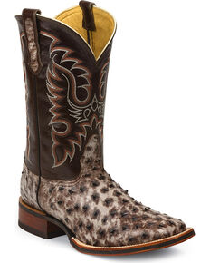 Nocona Men's McCloud Tobacco Full Quill Ostrich Boots - Square Toe, Brown, hi-res