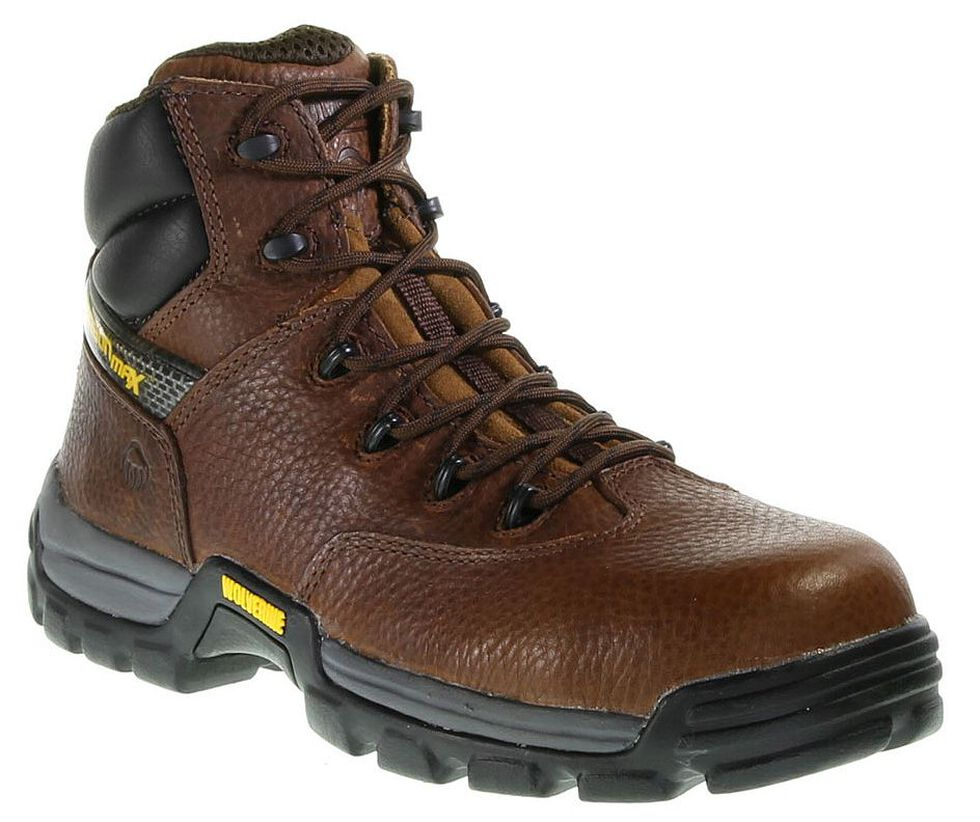"""Wolverine 6"""" Guardian CarbonMAX Lace-Up Work Boots - Safety Toe, Brown, hi-res"""