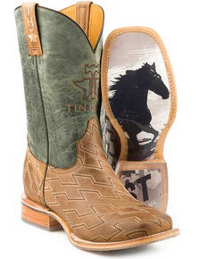Tin Haul Men's Horse Power Western Boots - Wide Square Toe, Tan, hi-res