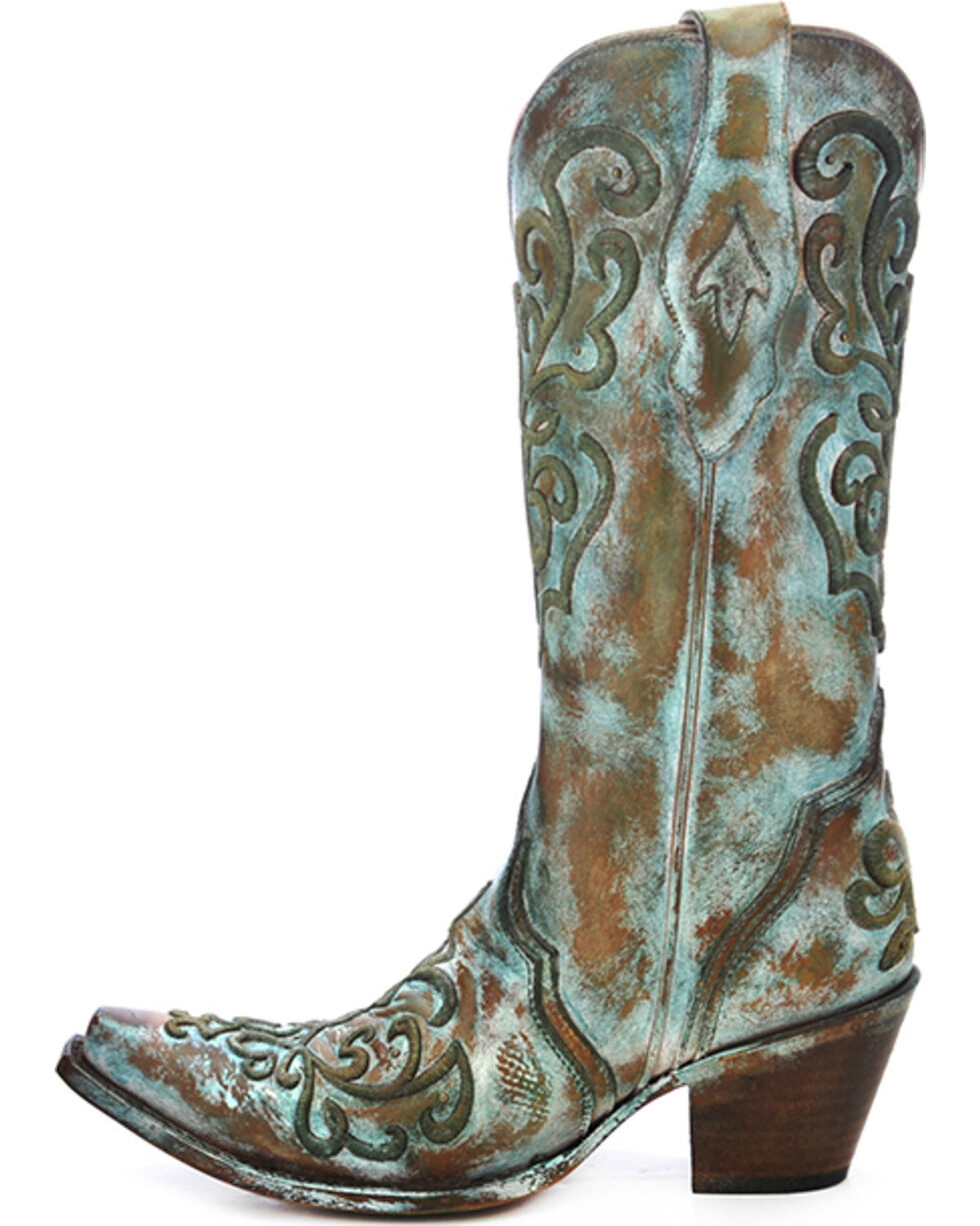 Corral Women's Cord Stitch Cowgirl Boots - Snip Toe, Tan, hi-res