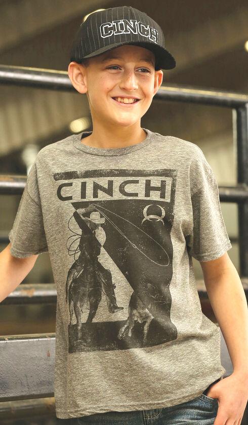 Cinch Boy's Grey Front Screen Print T-Shirt, Hthr Grey, hi-res