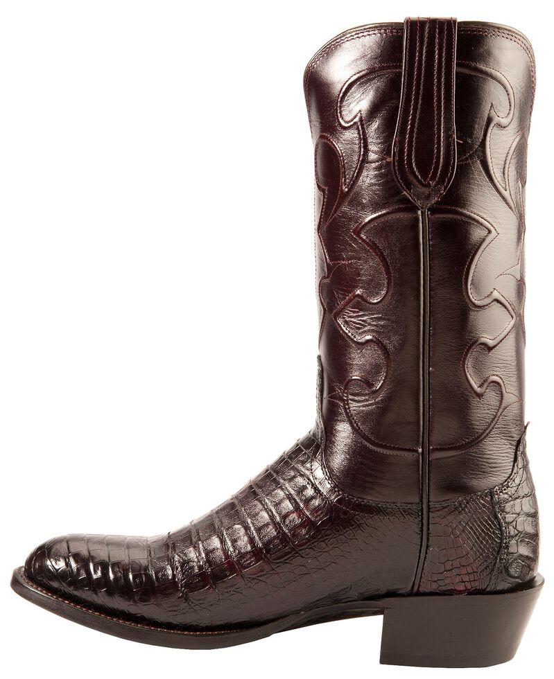 Lucchese Handmade 1883 Black Cherry Crocodile Belly Cowboy Boots - Medium Toe, Black Cherry, hi-res