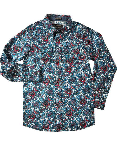 Cody James Boys' Patriot Paisley Print Long Sleeve Shirt, Blue, hi-res