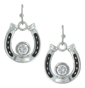Montana Silversmiths Women's Horseshoe Treasure Earrings , Silver, hi-res