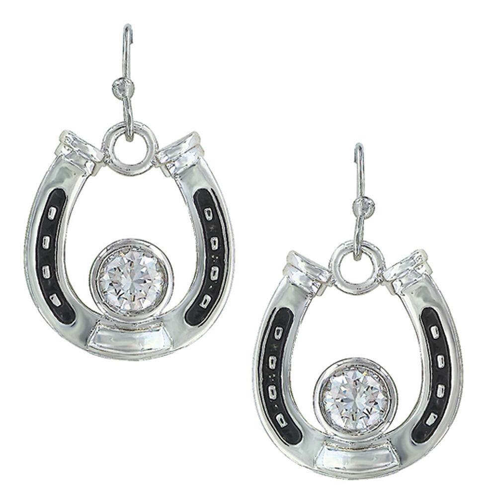 Montana Silversmiths Women's Horseshoe Treasure Earrings , Silver, hi-res
