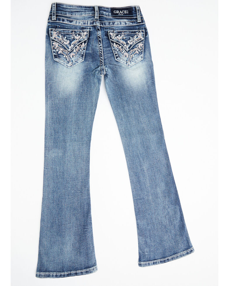 Grace in LA Girls' Medium Wash Faux Flap Vine Bootcut Jeans  , Blue, hi-res