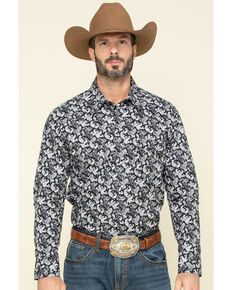 Rock & Roll Denim Men's Black Paisley Print Long Sleeve Western Shirt , Black, hi-res