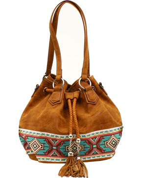 Blazin Roxx Shania Collection Aztec Ribbon Bucket Bag, Tan, hi-res