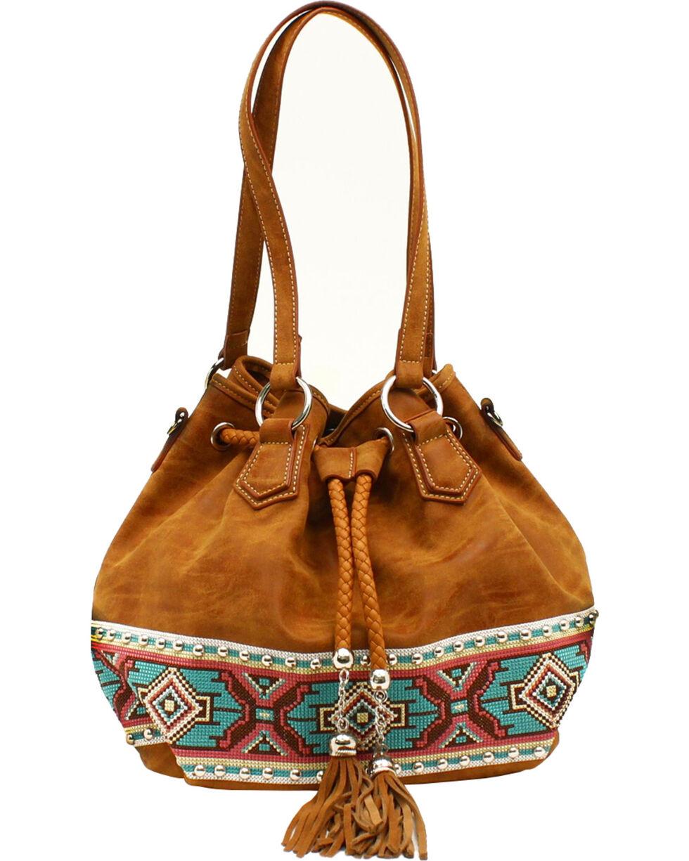Blazin Roxx Shania Collection Aztec Ribbon Bucket Bag, Tan, hi-res