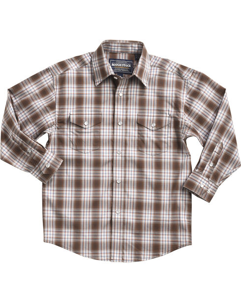 Rough Stock by Panhandle Boys' Ombre Plaid Long Sleeve Snap Shirt, Brown, hi-res