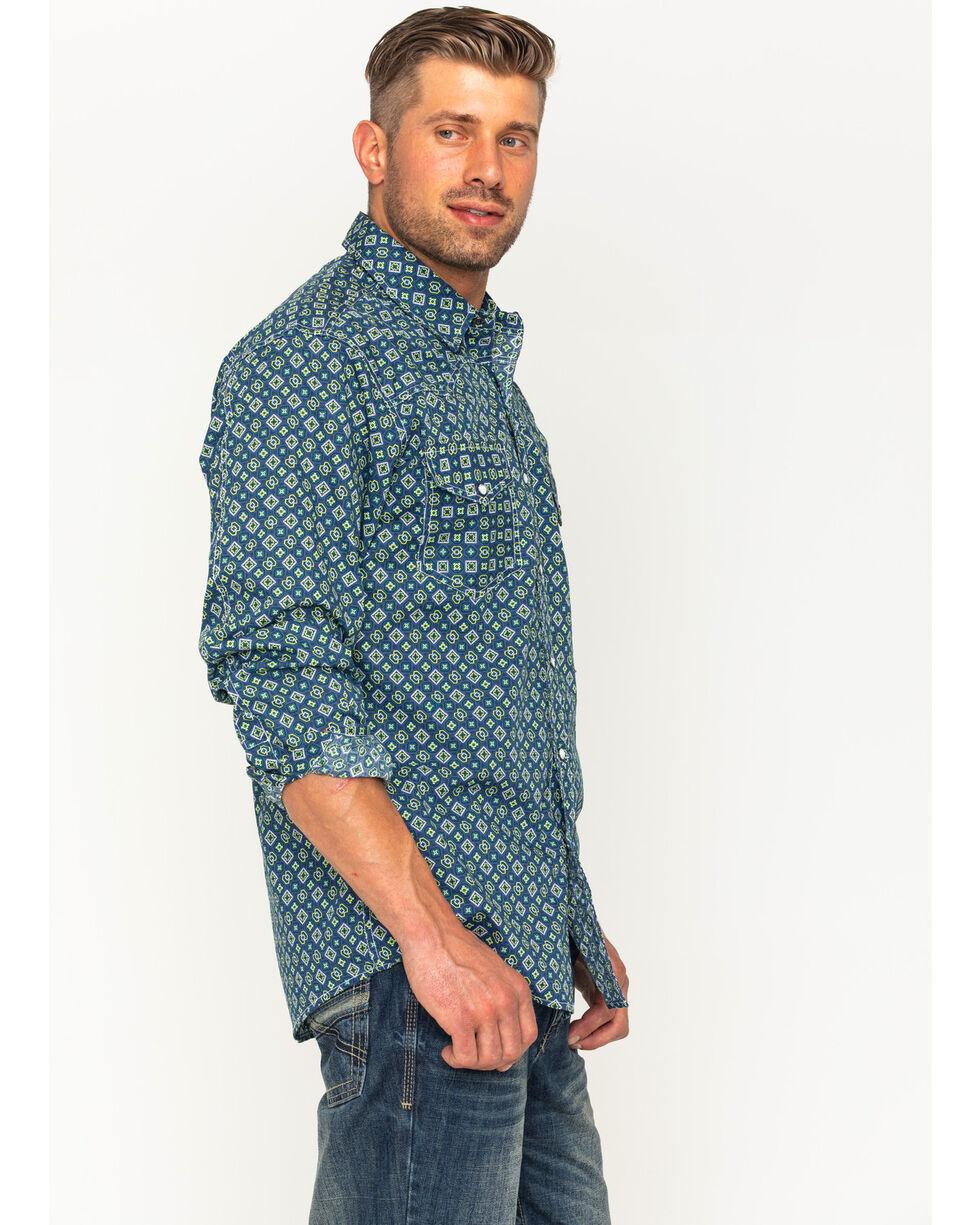 Cinch Men's Blue Print Long Sleeve Western Shirt , Multi, hi-res