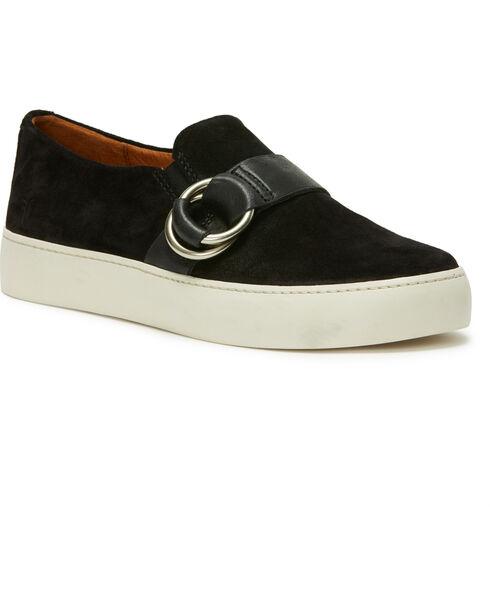Frye Women's Black Lena Harness Slip On Shoes - Round Toe, Black, hi-res