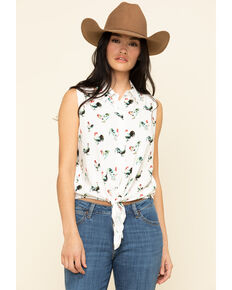 Cotton & Rye Outfitters Women's Rooster Print Sleeveless Tie-Up Top, Ivory, hi-res
