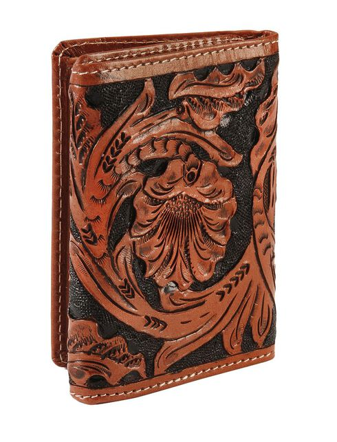 Roper Men's Floral Tooled Tri-Fold Wallet, , hi-res