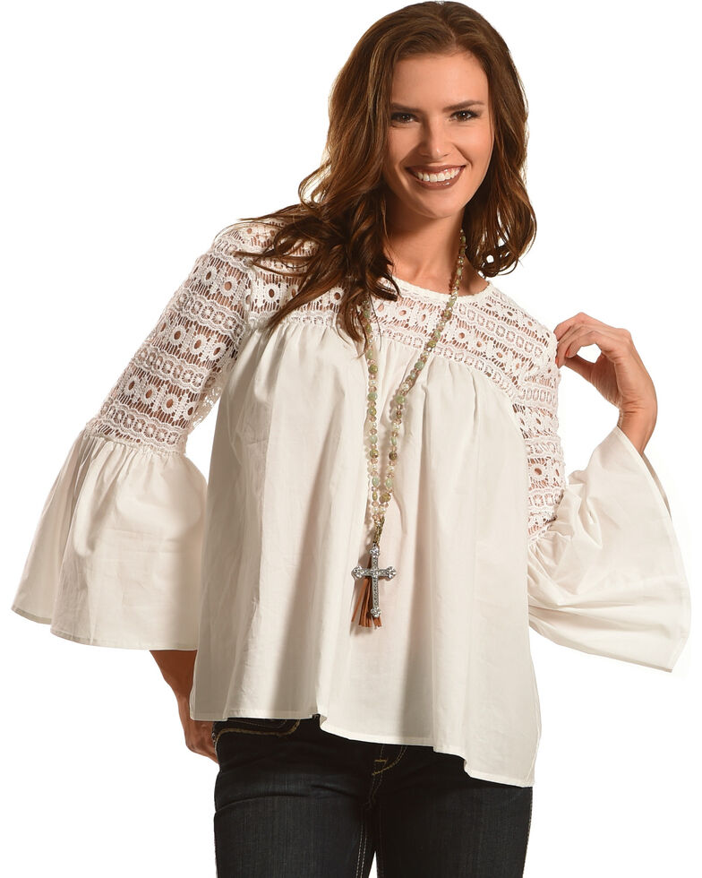 b64d7d531aae Zoomed Image Young Essence Women's Lace Bell Sleeve Top, White, hi-res