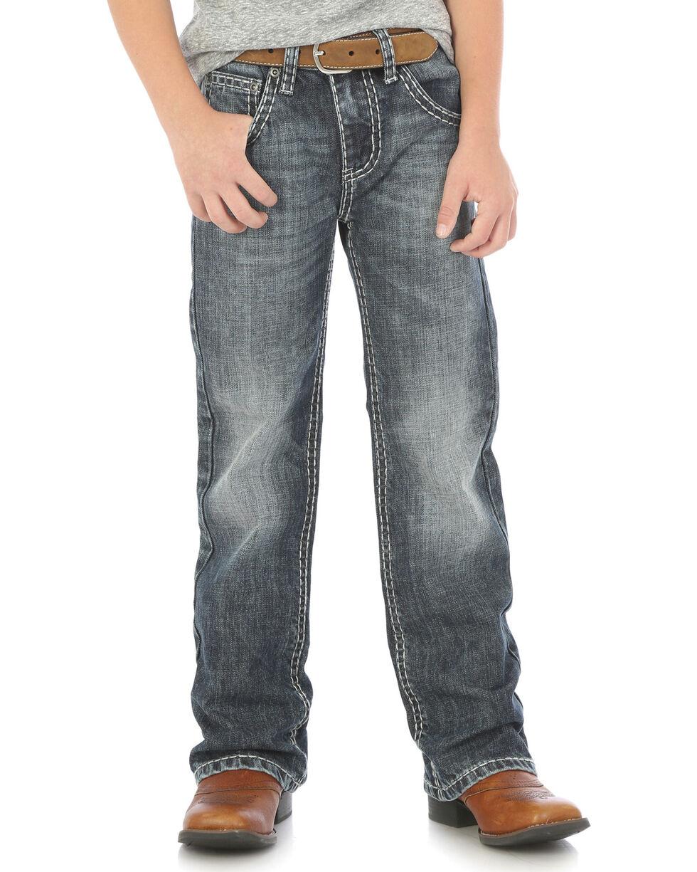 Rock 47 by Wrangler Boys' Slim Fit Boot Cut Jeans, Indigo, hi-res