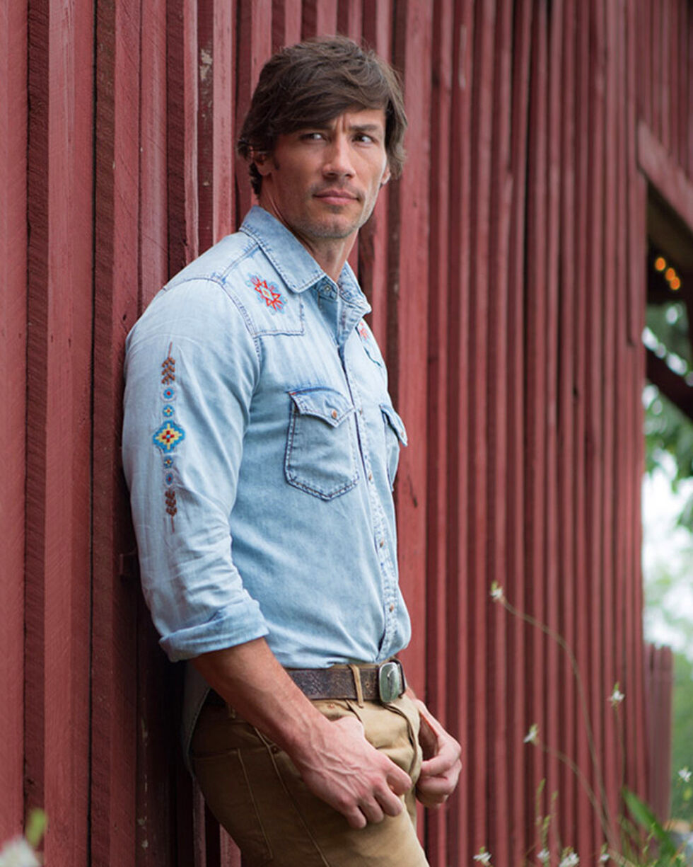 Ryan Michael Men's Embroidered Indigo Long Sleeve Western Shirt, Indigo, hi-res