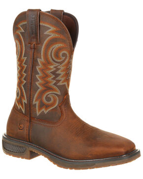 Durango Men's Workhorse Western Work Boots - Square Toe, Distressed Brown, hi-res