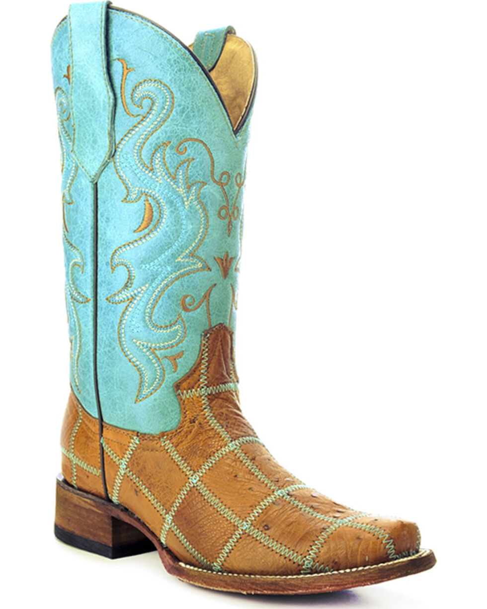 Circle G Ostrich Patchwork Cowgirl Boots - Square Toe, Tan, hi-res