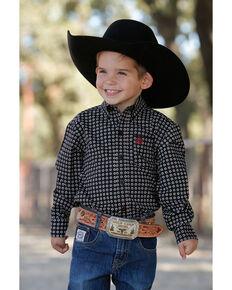 Cinch Infant Boys' Black Stretch Geo Print Long Sleeve Western Shirt , Black, hi-res